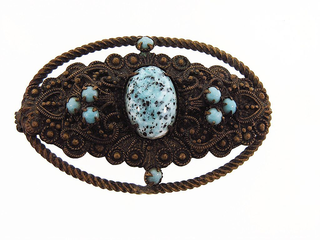 Early C clasp Etruscan design brooch with blue beads
