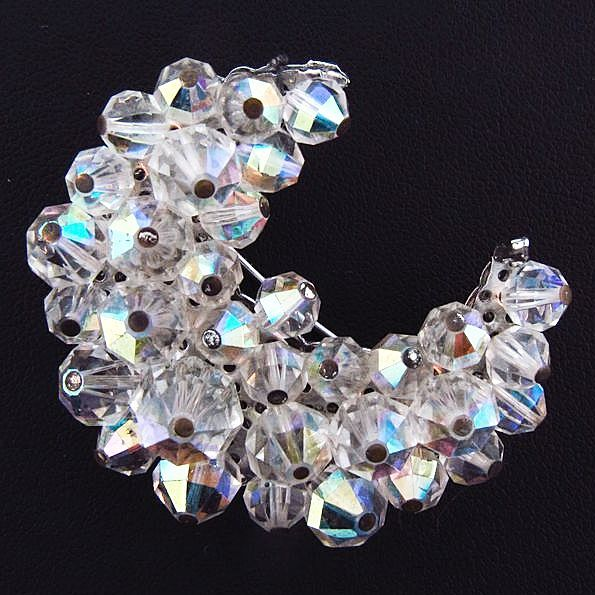 Vintage Crescent shaped crystal AB bead brooch