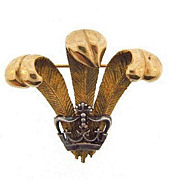 Regal vintage brooch with gold tone plumes over a silver tone crown