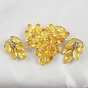 Beautiful rhinestone matching brooch & clip on earring Citrine poured glass