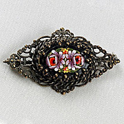 Lacy filigree early Mosaic floral Sterling Silver  brooch
