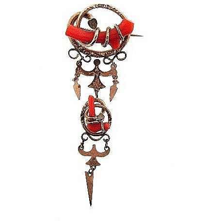 Delicate gold filled early C clasp dangling brooch with branch coral