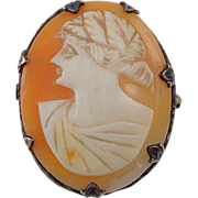 Lovely Shell Cameo brooch left facing design set in silver frame heavy patina
