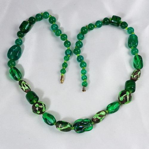 Heavier rich green Art glass necklace unusual beads