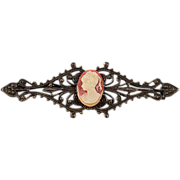 Antiqued gold tone Cameo bar pin