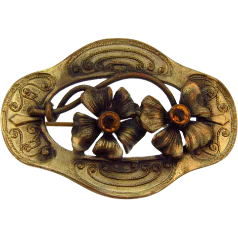 Early C clasp sash pin floral design dark gold tone finish