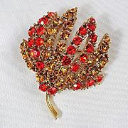 Floral brooch rhinestones in Orange & Amber colors
