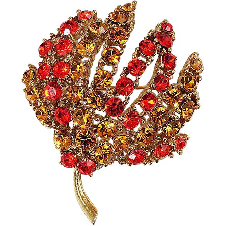 Floral brooch rhinestones in Orange & Amber colors