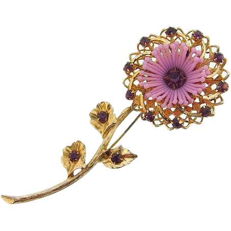Long vintage floral brooch with unique plastic center stamens and purple rhinestones