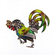 Marked sterling silver Germany rooster brooch with marcasites and enamel