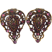 1940's pair of ornate Dress Clips with purple glass stones