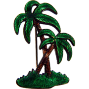 Vintage Tropical Palm tree brooch in bright enamel