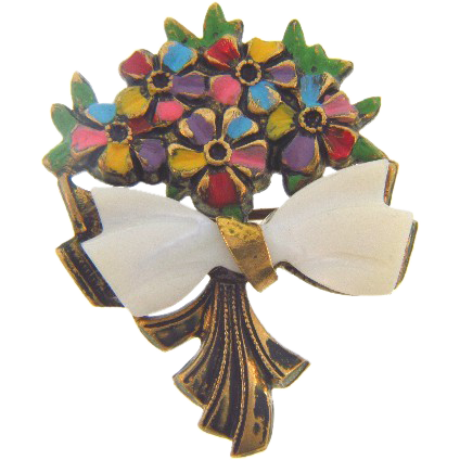 Sweet bouquet of flowers with mother of pearl bow C clasp scatter pin