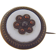 Late 1800's Scatter Pin in an Etruscan floral design on an opaque glass disk