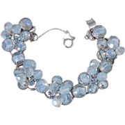 Juliana D&E 5 link bracelet with blue givre stones silver tone base