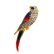 Gorgeous rhinestone and glaze enamel parrot/parakeet brooch