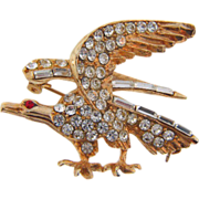 Striking vintage rhinestone Eagle brooch