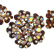 Juliana D&E  rhinestone brooch and clip on earrings