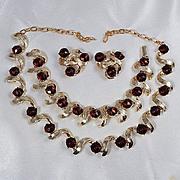 Beautiful light gold tone parure Topaz Stone Necklace,bracelet,clips