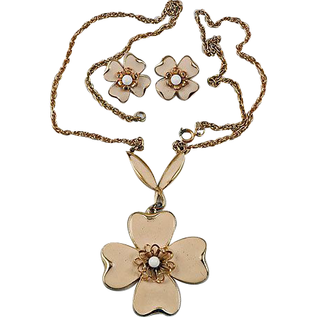 Designer signed ART chain pendant necklace and clip in off white cream coloring