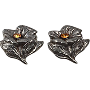 Dress clips matching pair early White Metal floral design