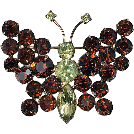 Butterfly brooch in colors of Citrine & deep Amber gold tone base