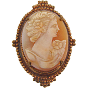 Lovely raised shell cameo brooch in a beaded gold tone frame