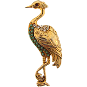 Lovely figural Heron Brooch with Turquoise colored beads and crystal rhinestones