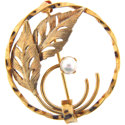 Marked 14kt GF K.L. circular brooch with genuine pearl