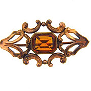 Small early C clasp gold filled Scatter Pin with center amber glass stone
