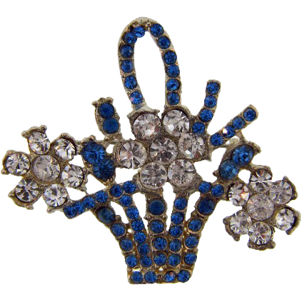 Vintage flower basket figural Brooch with rhinestones