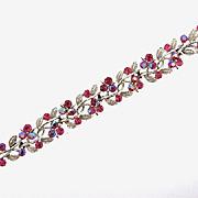 Signed Lisner bright pink rhinestone Bracelet