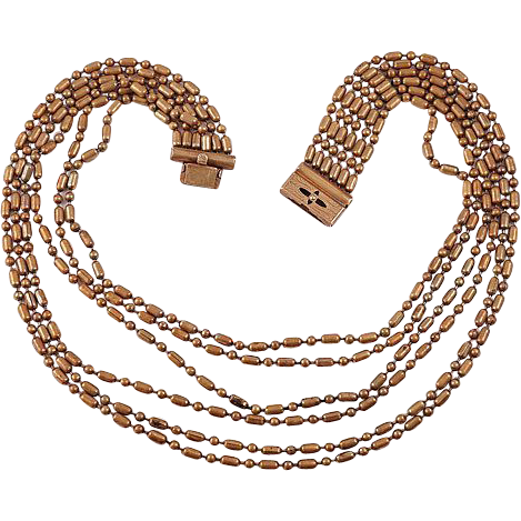 Early 6 strand brass chain necklace with etched slide in clasp