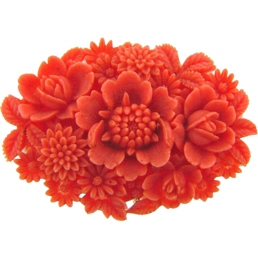 Early vintage molded celluoid floral Brooch