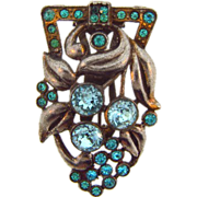 1940's floral Dress Clip with blue rhinestones