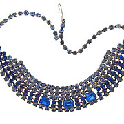 Lovely 6 strand blue Rhinestone Necklace