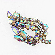 Vintage brooch with AB stones in a Leaf Design