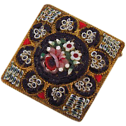 Marked Italy floral mosaic brooch