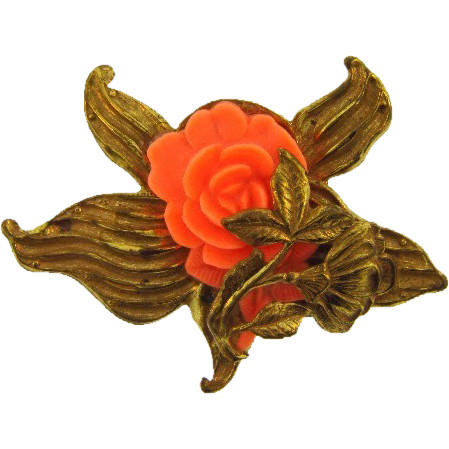 Thin metal gold tone brooch with celluloid flower