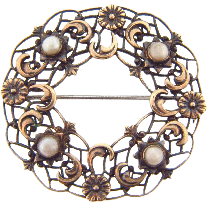 Signed Symmetalic sterling with 12kt brooch with pearls
