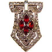 Small Art Deco Dress Clip with crystal and red rhinestones