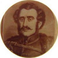 Small souvenir  celluloid button of a Military man