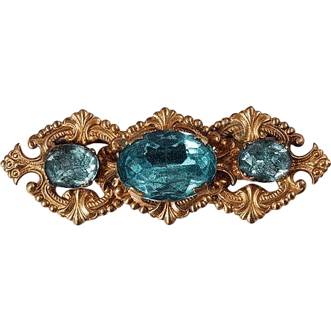 Early bar pin fancy frame Turquoise cut glass