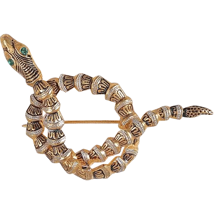 Damescene coiled snake brooch rhinestone eye