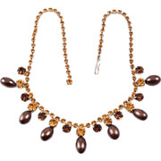 lovely rhinestone choker necklace Amber & Citrine stones