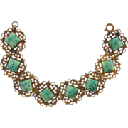Vintage gold tone filigree link Bracelet with Peking glass squares