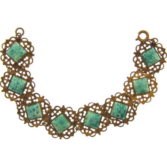 Vintage gold tone filigree link Bracelet with Peking glass squares