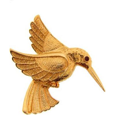 Gold tone figural Hummingbird Brooch