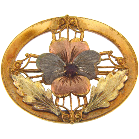 Marked 1/20 10kt gold filled and maker C.T. pansy Brooch