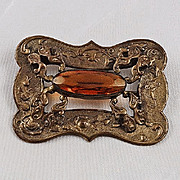 Sash pin late Victorian or Edwardian period gorgeous Amber cut glass